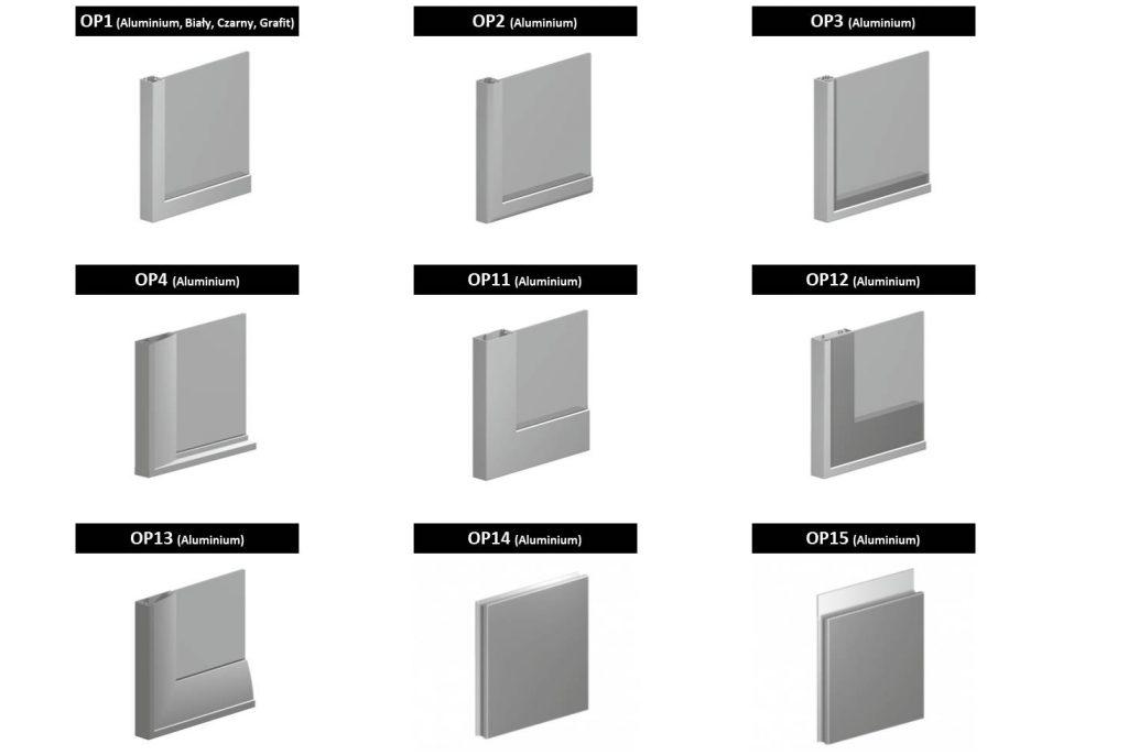 Fronty szklane OPAL - dostępne wersje